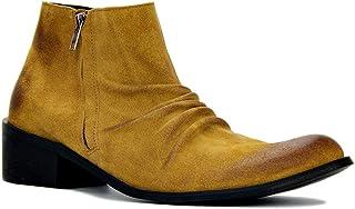 Bottes Chelsea Cowboy décontractées pour Hommes Bottines Western avec Fermeture éclair Chaussures de Grande Taille à la Mode
