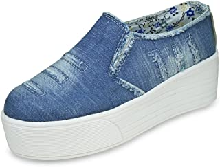 BEONZA Women Blue Rugged Denim Jeans Sneakers Casual Shoes
