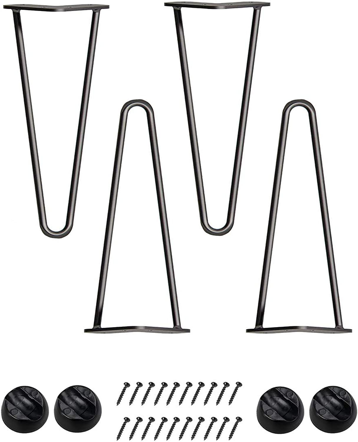 Bronkey 4PCS Industrial Vintage Style 3 8  Solid Bar 14  Black Hairpin Legs, Two Rods Double Weld Construction Design, Metal Steel Heavy Duty Table Legs, for DIY Coffee Shop Living Room TV Stand Sofa