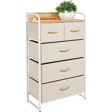 mDesign commode à 5 tiroirs – étagère à tiroirs haute pour la chambre, le salon, l'entrée, la salle de bain, etc. – rangement vêtements en métal, MDF et tissu – crème/blanc