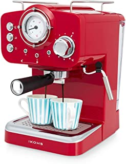 comprar comparacion IKOHS THERA Retro - Cafetera Express para Espresso y Cappucino, 1100W, 15 Bares, Vaporizador Orientable, Capacidad 1.25l, ...