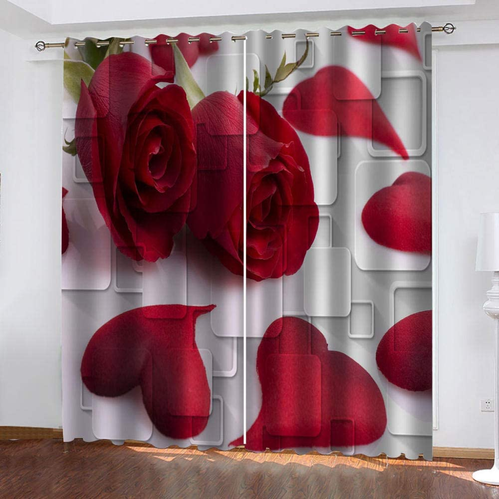 EEFTYR Blackout Curtains Grommet Max 55% Super sale OFF Polyester Window 3D Drapes Red