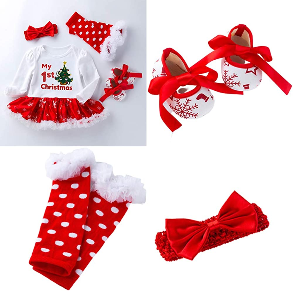 Frillybutts Set of 4 My 1st Christmas Baby Girl Outfit Newborn Infant Romper Tutu Dress