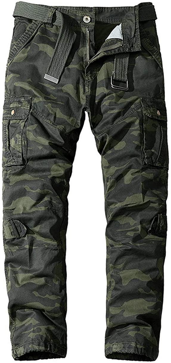 Raroauf Mens Camo Cargo Pants Casual Military Multi Pocket Outdoor Combat Work Trousers