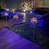 2 Pack Outdoor Home Christmas Decor Solar Powered Flowers Firework Lights, Waterproof DIY 40 Copper Wire Dimmable Multicolor Auto ON-Off 120 LED Lights for Garden Patio Yard Pathway Lawn Party