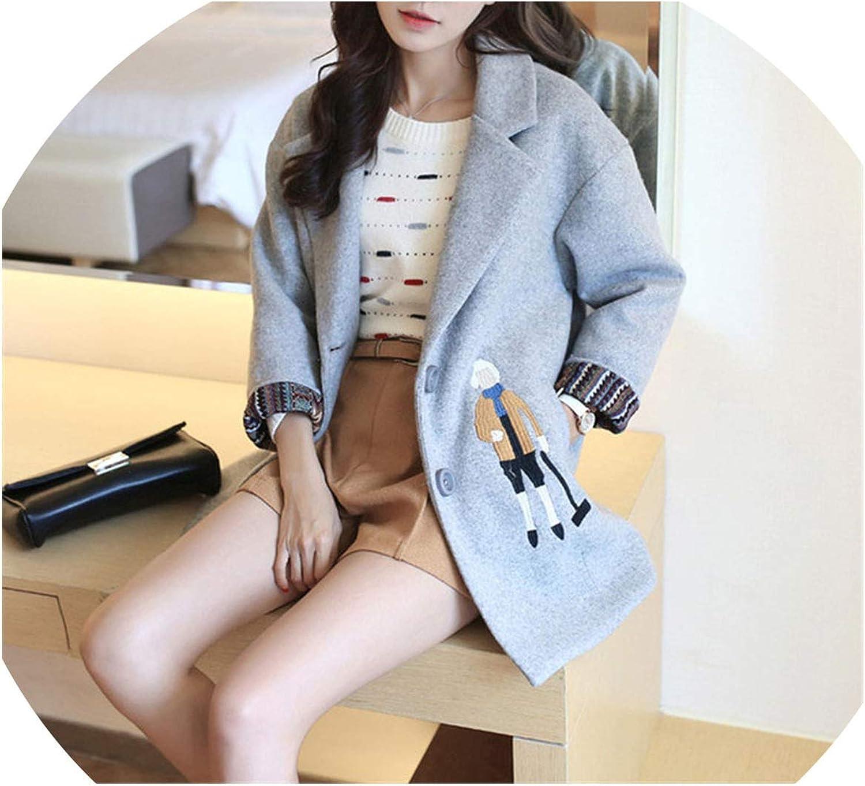Romantico 2019 New Korean Women Woolen Jacket Casual CottonPadded Winter Coat Cartoon Embroidery Wool Coat