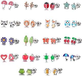 CNNIK 18 paia di orecchini in acciaio inossidabile, Orecchini a forma di simpatici frutta e animali, Volpe gufo forma di c...