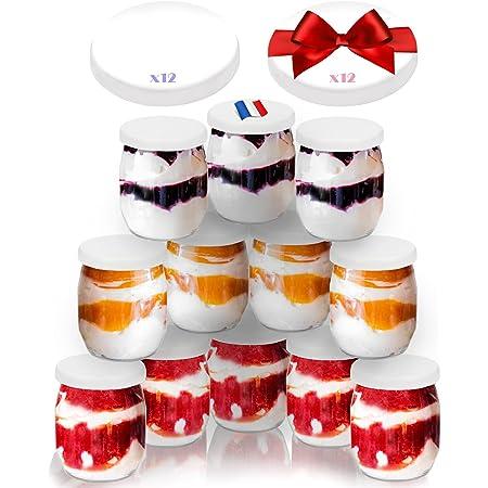 SPECIAL-DAY 12 Pots de yaourt en verre avec 24 couvercles hermétique SANS BPA   QUALITE ALIMENTAIRE GARANTIE   pour yaourtières & robots-cuiseurs 143 ML / 125G   MADE IN FRANCE