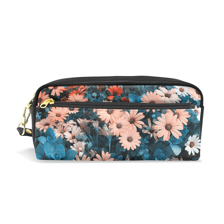 AOMOKI ペンケース 化粧ポーチ 小物入り 多機能バッグ レディース 花柄 モスコす 菊 カラフル オレンジ