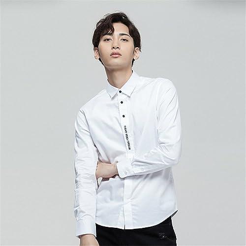 Mode Hommes Chemise de Couleur Pure, réparation des Manches Longues Simple t - Shirt brodé de Chemise,blanc,l