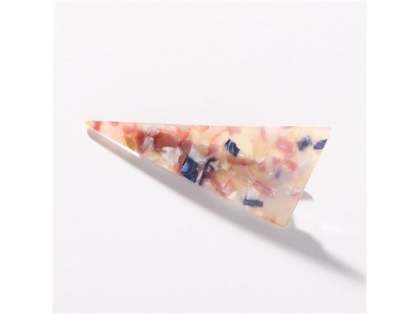 フェロー諸島上へ元に戻すOsize 美しいスタイル 大理石の三角ステッチ大人のヘアクリップダックビルクリップヘアアクセサリー(オレンジ+ピンク)
