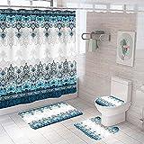 Badezimmer Teppich Duschvorhang vierteilige Weiße graublaue ethnische Blumen Toilette Badewanne Anti-Rutsch Wasserdicht Polyester Duschvorhang Bodenmatte Set150 × 180 cm