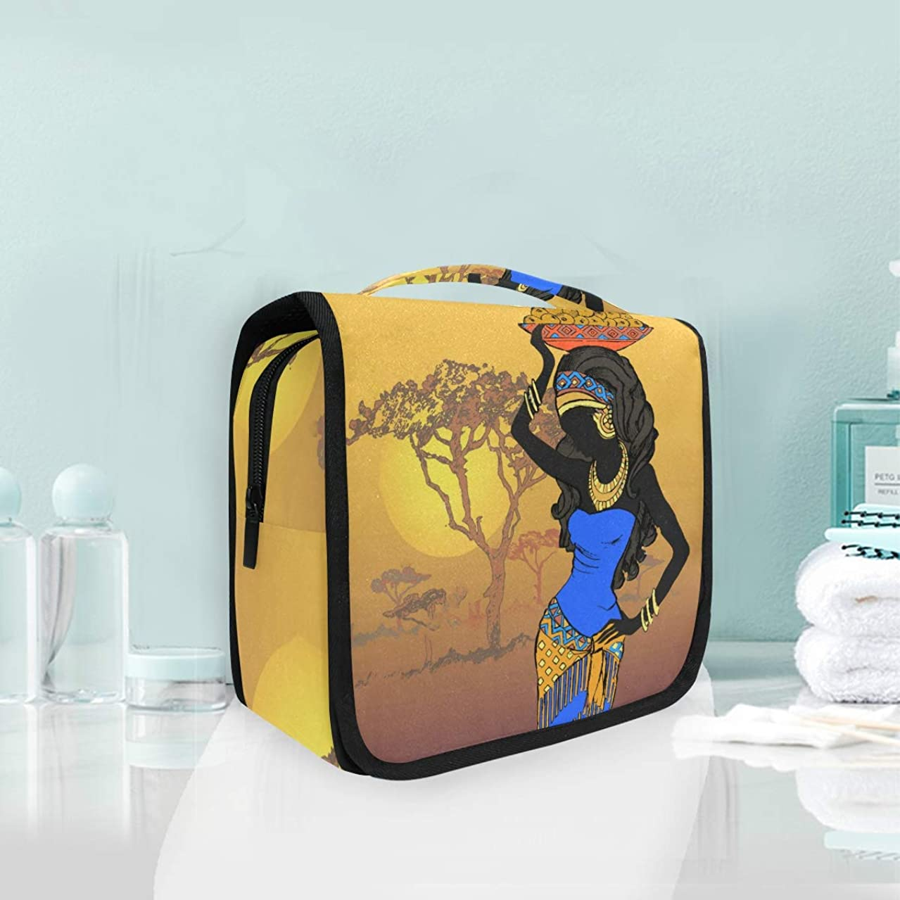 SLHFPX African Woman Toiletry Bag Multifunction Cosmetic Bag Portable Makeup Pouch Waterproof Travel Hanging Organizer Bag for Women Men Girls