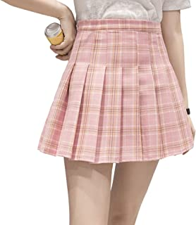632e62d3f0be Hoerev Women Girls Short High Waist Pleated Skater Tennis School Skirt