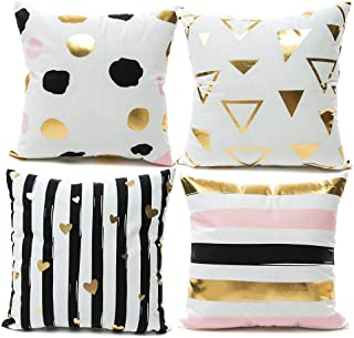 YNester 4 Pack Bronzing Decorative Throw Pillow Case Cushion Covers, Geometric Patterns Solid Cushion Covers Pillowcases for Sofa Bedroom Car Pillow Covers 18x18 Inch Flamingo (Pink)