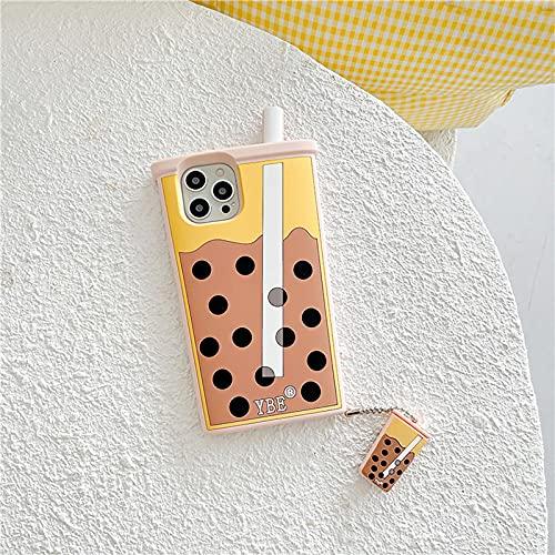 BGYL Caja del TeléFono del Té De La Leche,Cubierta De La Caja del TeléFono De Silicona con Colgante De Té con Leche con Burbujas 3D iPhonexsmax Rosa
