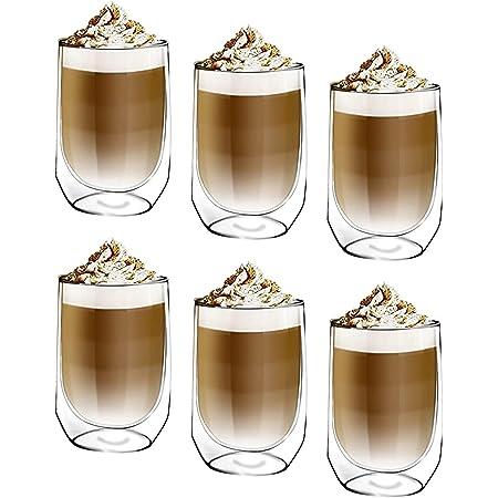 [6-Pack,350ml] DESIGN•MASTER-Première qualité - Verre isolant à double paroi, Tasse à café ou à thé, Verre thermo-isolant, Parfait pour le café au lait, Cappuccino, Americano.