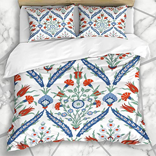 Conjuntos de funda nórdica Adornos de tulipán Adorno tradicional azul de Estambul Ornamento floral...