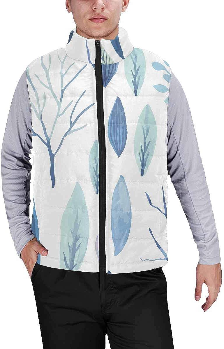 InterestPrint Men's Lightweight Keep Warm Puffer Vest for Outdoor Cute Watercolor Flower M