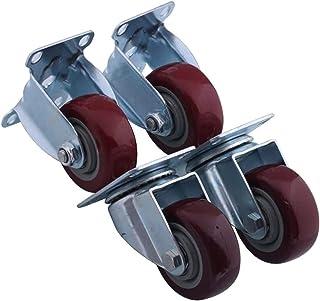 Casters 4 stuks meubelwielen, combinatie met vaste wielen en wielcombinatie, transportwielen, vlak buiten, slijtvast, 94,5...