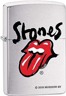 Zippo Lighter: Rolling Stones Logo - Brushed Chrome 80139