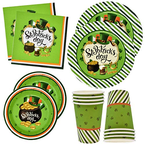 St Patricks Day Plates and Napkins Cups for 24 Guests 24 9 Inch Shamrock Paper Plate 24 7 Inch Plates 24 9 oz Cups and 50 Luncheon Napkins Disposable Green Dinnerware Irish Decorations