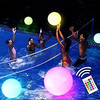 Pool Toy 16  LED Glow Beach Ball Toy with 16 Color Changing Lights Glow in Dark Pool Games Toys for Teens Adults Great for Summer Parties Pool/Beach Parties Raves or Blacklight/Glow Parties.