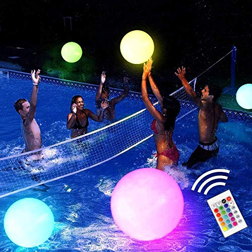 "Pool Toy 16"" LED Glow Beach Ball Toy with 16 Color Changing Lights, Glow in Dark Pool Games Toys for Teens Adults, Great for Summer Parties, Pool/Beach Parties, Raves, or Blacklight/Glow Parties"