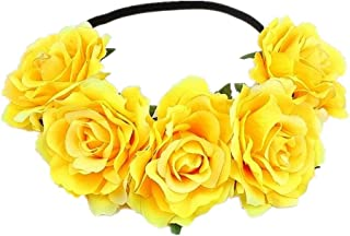 Tvoip Rose Floral Crown Garland Flower Headband Headpiece for Wedding Festival (Yellow)