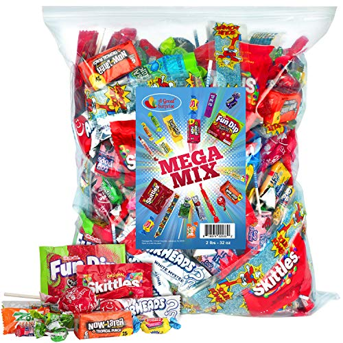 Assorted Candy Party Mix, 2 LB Bulk Bag - Holiday Candy Bulk - Sour Power Belts, Fun Size Skittles,...
