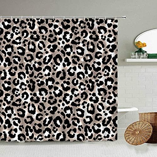 Afrikanischer Stil Leopard Muster Duschvorhang Wild Animal Print Badezimmer Badewanne Dekoration Geschenk wasserdichte Vorhänge Bildschirm-16_90x180cm