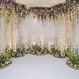 Leyiyi 6x6ft Photography Background Wedding Ceremony Backdrop Marriage Engagement Celebration Flower Blossom Arch Door 3D Hall Decoration Sequins Shine Flower Photo Portrait Vinyl Studio Video Props