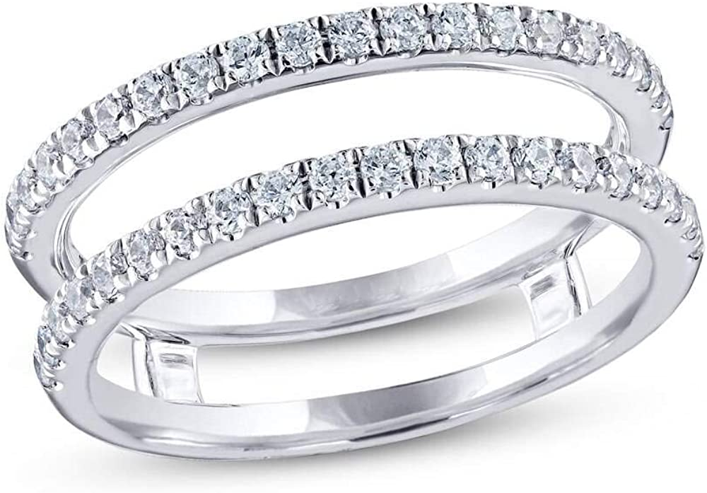 Jewelry Star 14K White Gold Plated in Deluxe ct Sale special price C Cut Round Silver 1.00