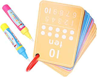 Healifty 2 Set Water Painting Graffiti Book Card ABC Alphabet Number Flash Cards with Magic Drawing Pens Educational Monte...