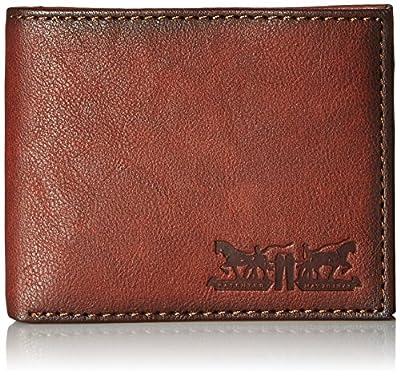 Levi's Men's Leather Passcase Wallet, Tan Brown, One Size