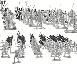 Quande Medieval Knights Warriors Horses Kids Toy Soldiers Figures Static Model Playset Playing on Sand Castles 88Pcs/Set