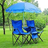 COLIBROX Folding Portable Double Chair with Umbrella Table