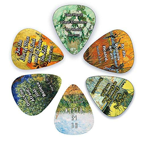 Guitar Picks with Christian Jesus Has Risen Bible Verses (12-Pack)- Medium Gauge Celluloid - Cool Acoustic and Electric guitar Accessories for Men and Women - FREE ONE Pick Holder Wallet