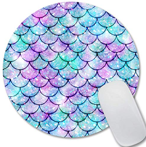 Kawaii Blue Mermaid Scales Mouse Pad Personalized Design Cute Mouse Pad Small Size Non-Slip Rubber Mouse Pads for Computer Laptop
