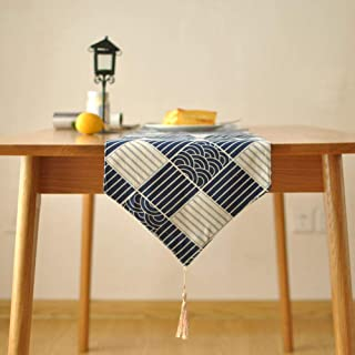 MIMI KING Table Runner Double Layer Cotton Linen Fabric, Coffee Table Porch Lattice Tea Tray Pad Table Flag Dark Blue and White,Rhombus,70inch