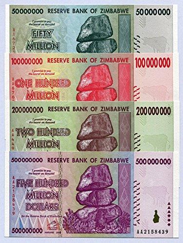 Zimbabwe 50 100 200 500 Million Dollars 2008 P79-P82 UNC Currency Bills