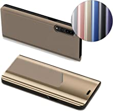 [Huawei P20 Pro] Case, COTDINFORCA Mirror Design Clear View Flip Bookstyle Luxury Protecter Shell With Kickstand Case Cover for Huawei P20 Pro - 6.1 inch. Flip Mirror: Gold