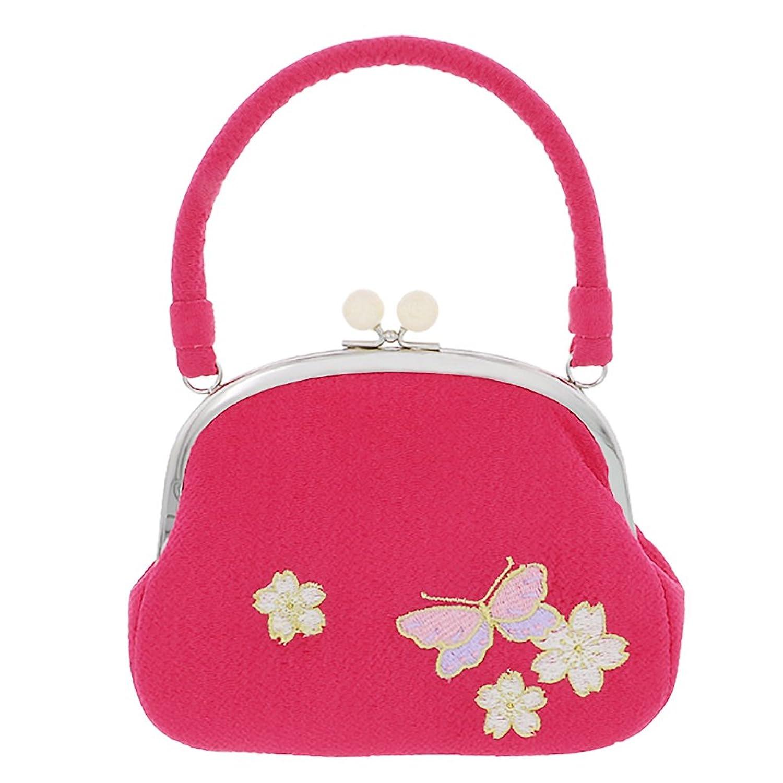 [ 京都きもの町 ] 七五三 巾着単品「ラズベリーピンク 蝶と桜の刺繍」桃の節句、ひな祭り 着物バッグ がま口バッグ 和装バッグ