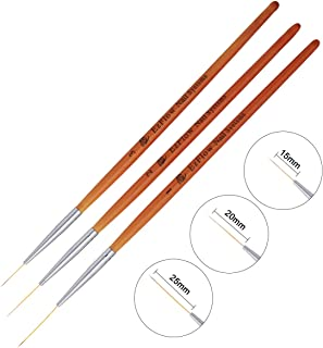 15/20/25Mm 3Pcs Nail Art Brush Wooden Handle French Lines Stripe Flower Painting Drawing Liner Pen Manicure Tool