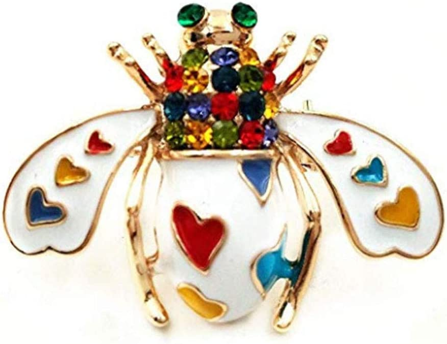 CHDHALTD Rhinestone Brooch,Delicate Bee Brooches for Women,Crystal Brooches Pins for Banquet Wedding Daily Supplies,Black White Enamel Pin Heart Brooch Clothes Accessories Gift