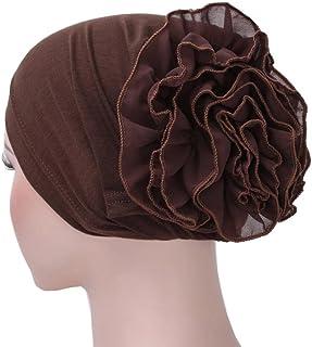 NEWONESUN Women Flower Muslim Ruffle Cancer Chemo Hat Beanie Turban Head Wrap Cap