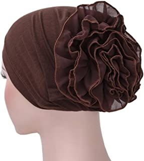 NEWONESUN Women Flower Muslim Ruffle Cancer Chemo Hat Beanie Turban Head Wrap Cap