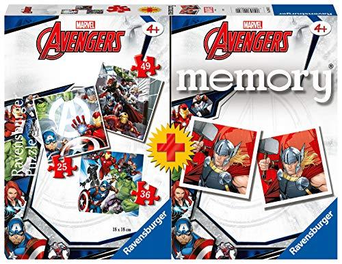 Ravensburger 20674 2 Multipack Memory e Puzzle di Avengers, Puzzle e Gioco per Bambini, Età Raccomandata 4+