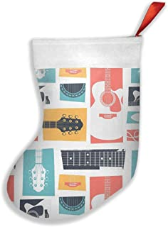 Luckye-ltd Guitar Collage Christmas Stockings Classic Decoration for Family Holiday Xmas Party Set of 2