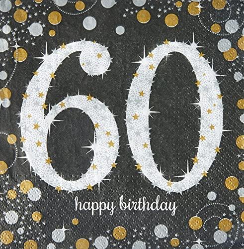 Amscan 511547 - Servietten 60. Geburtstag, 16 Stück, 33 x 33 cm, Happy Birthday, Sparkling Celebration